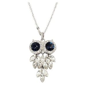 Lovely crystal blue eye owl necklace